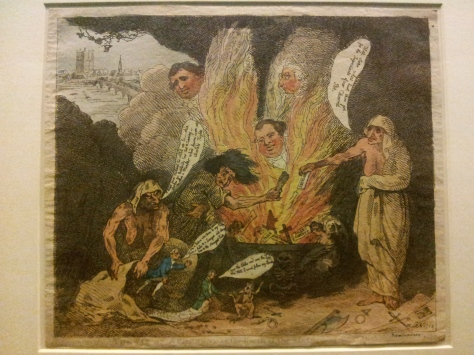 The pit of Acheron, or the birth of the plagues of England, 1784 (Thomas Rowlandson)  A satirical comment on the failure of the Fox-North Coalition and the India Bill